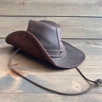 Henschel Hat Co. Mens Aussie Safari Hat Leather USA Brown Adjustable Chinstrap L