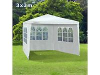 White 3 x 3 Metres Waterproof Gazebo Tent Marquee Awning Canopy with sides Outdoor Garden Party