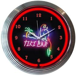 Tiki Bar Parrot Beer Bar Neon Clock 15x15