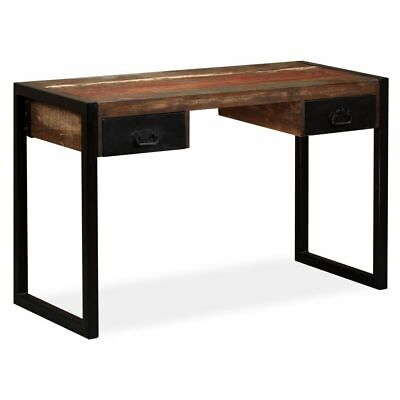 vidaXL Solid Reclaimed Wood Desk with 2 Drawers 120x50x76cm Office Worktable
