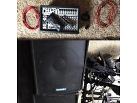 P.A system. Behringer amp, sound lab speakers. Lots of extra cables
