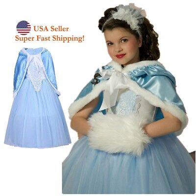 NEW Elsa Princess Girls Costume Dress Ana Cosplay Dress with Cloak Size - Ana Costumes