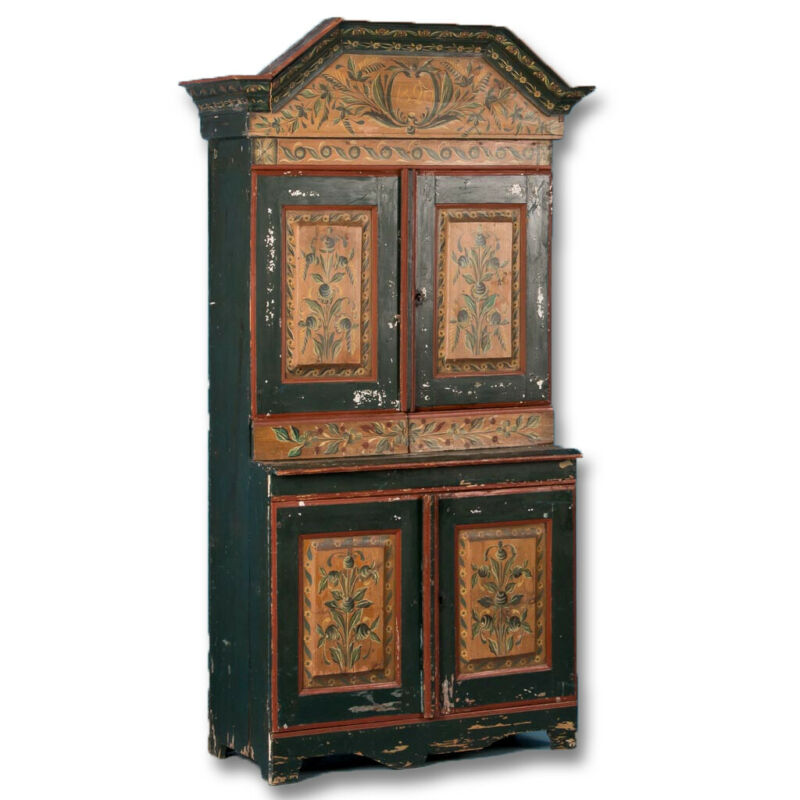 Antique Swedish Cabinet With Original Green Paint Dated 1820
