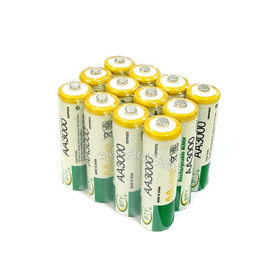 12 pcs AA LR06 3000mAh 1.2V NI-MH rechargeable battery CELL/RC 2A BTY Green SP on Rummage