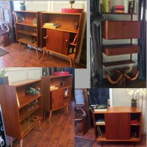 Priced SEPARATELY- Danish MCM Teak Display China Bookcase Buffet Bar Media Record Console Modular Wall - REFINISHED