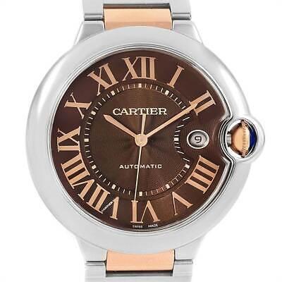 Cartier Ballon Bleu 18k Rose Gold & Steel Chocolate 42mm Watch W6920032 3001