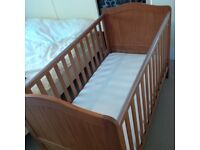 Solid wood baby cot bed with high quality mattress 140cm X 76cm