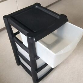 Plastic Tower Storage 3 Drawers Chest Unit with Wheels