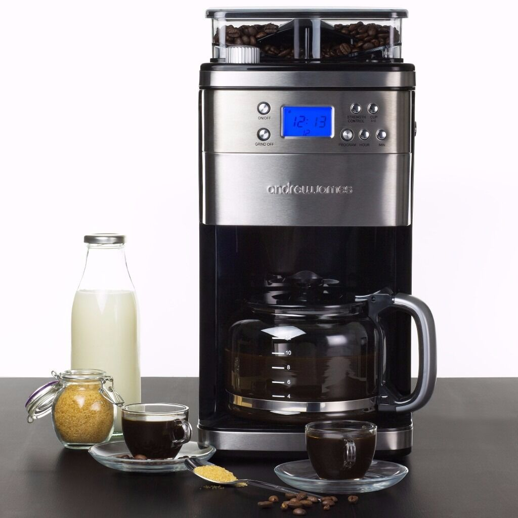 Premium Programmable Chrome Filter Coffee Maker With Integrated Bean Grinder