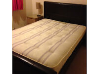 King size bed, brown faux leather