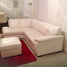Cream leather left hand corner sofa with leather storage foot stool....chair settee furniture