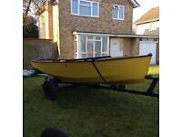 Enterprise sailing dinghy (No 10218) with road trailer