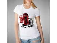 "Ladies Stylish T-Shirt "" London"" Top Vest Round Neck - Size ""Large"""