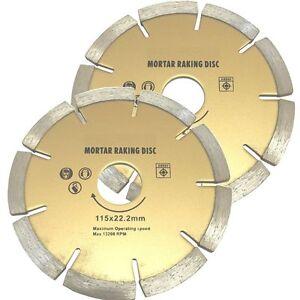 (PACK OF 2) 115mm Diamond Mortar Raking Discs - brick work pointing blade raker