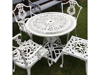Ornate white cast aluminium garden furniture set