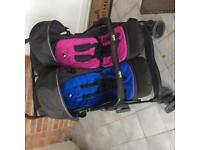 A side by side double buggy in very good condition. Raincover included.