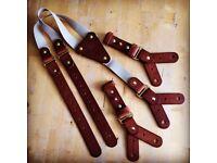 Mens handmade leather 'Boilerhouse' braces