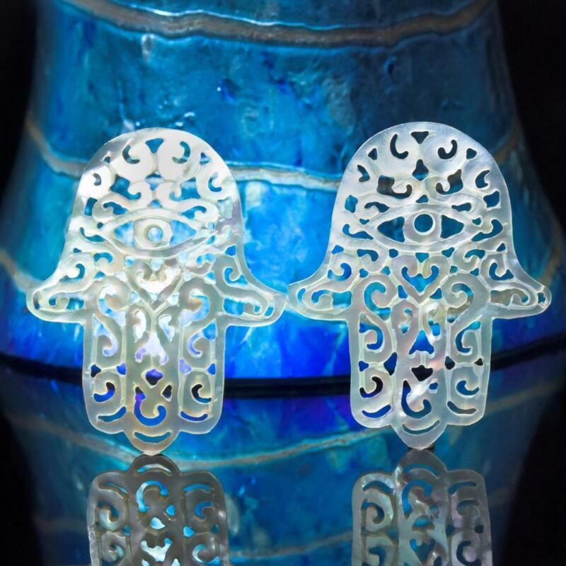 Hamsa Hand Earring Pair Carved Mother-of-Pearl Shell Filigree Cut Work 2.29 g