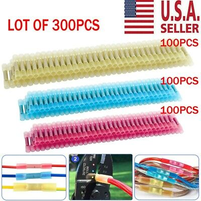 300Pcs Heat Shrink Insulated Butt Crimp Splice Wire Connector Terminals 22-10AWG
