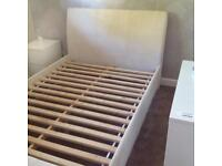 DREAMS FAUX SUEDE DOUBLE BED & AIRSPRUNG MATTRESS.