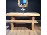 Beauitful Hand made Reclaimed Henry the eighth dining table and benches