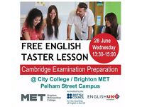 FREE English Language Taster Lesson @Brighton MET: Wednesday 28 June, 1.30-3pm