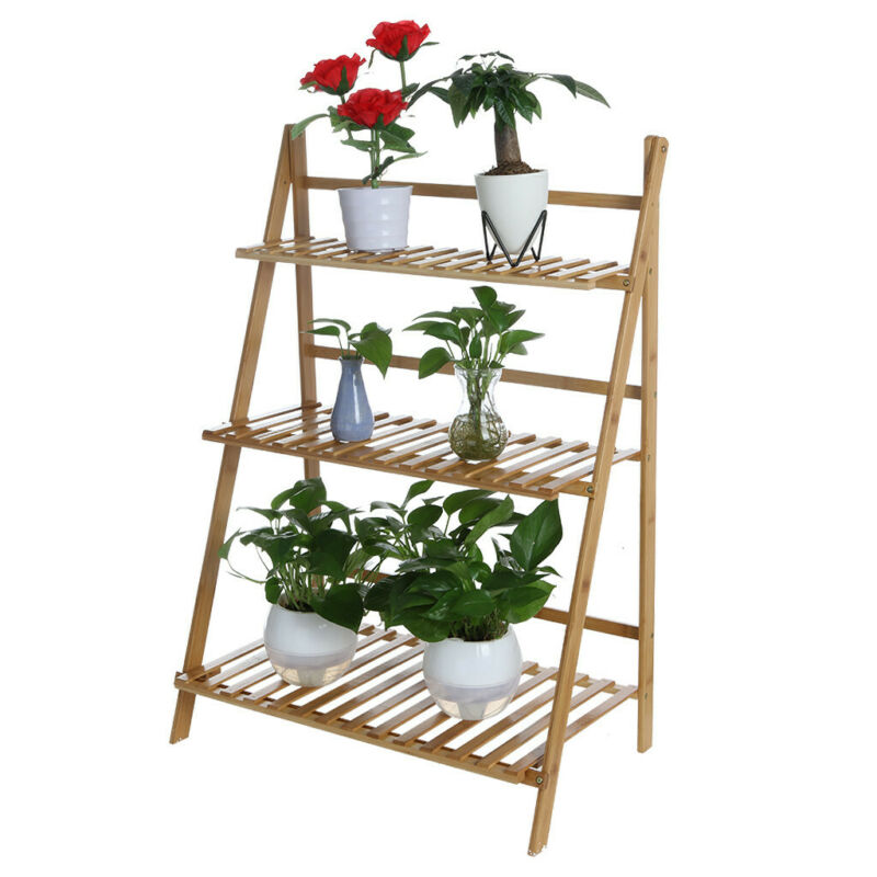 Multifunction 3 Tier Folding Shelf Stand Bamboo Flower Pot Display Rack Bookcase Ebay