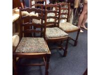 Set of 4 ladder back dining chairs