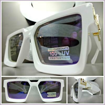 OVERSIZED VINTAGE Luxury RETRO Style SUN GLASSES White & Gold Frame Purple (Purple Metal Frame Glasses)