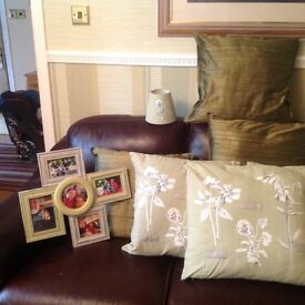Full matching set of cushions, vase, light shades etc etc