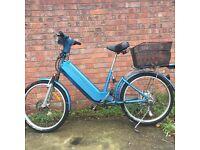 a full working electric bike fold-able bike, aluminum. FRAME disk brake road bike hybrid bike racer