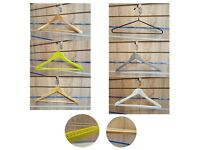 WOODEN HANGERS FOR GARMENT CLOTHES WITH NON SLIP TROUSER BAR IN DIFF COLOURS