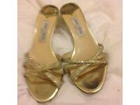 Gold Jimmy Choo sandals, UK size 6