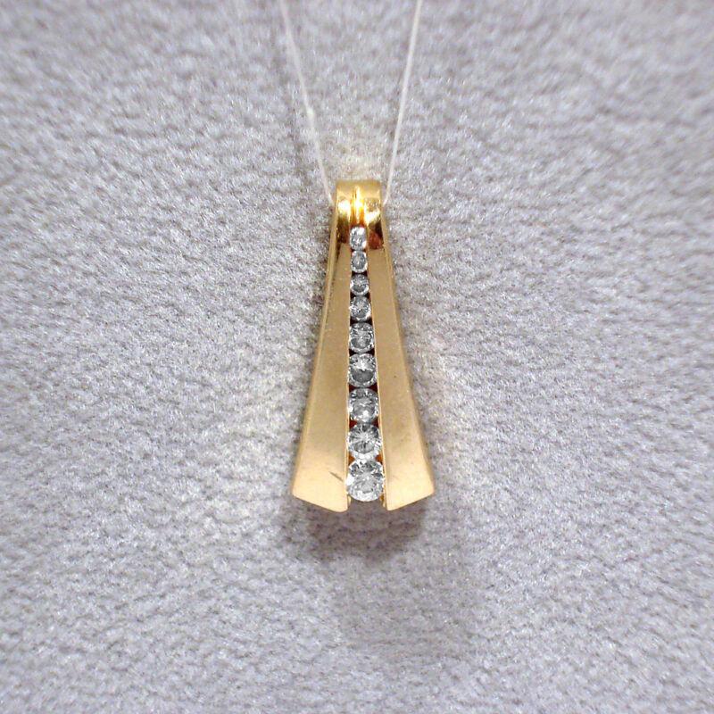 SOLID 14K YELLOW GOLD & DIAMONDS PENDANT