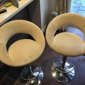 Two suede effect bar stools - 2 years old