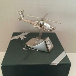 Platinum Apache Longbow War Helicopter Silver Tone Quartz Desk Clock Vietnam Era