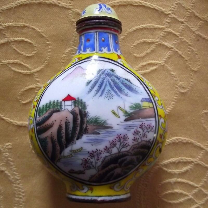 Vintage Qianlong Signed Chinese Oriental Snuff Perfume Bottle Enamel on Copper K