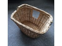 Large Vintage Wicker Bike Basket with Handle