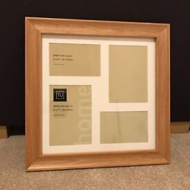 Solid Oak Photo Frame brand new unused holds 2 6x4 and 2 7x5