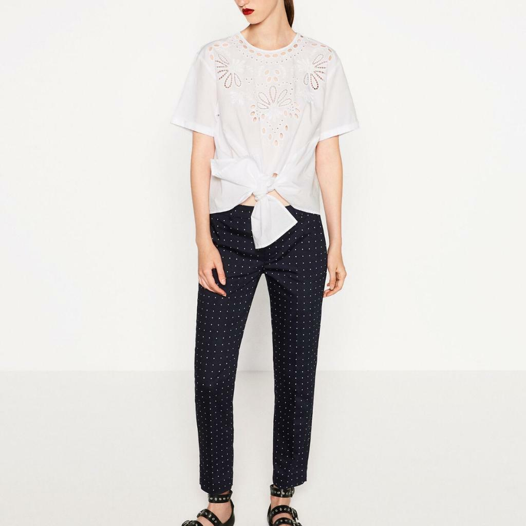 Zara Navy poka dot trousers