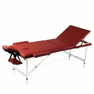 vidaXL Mesa de Masaje Camilla de Masaje Aluminio Plegable 3 Zonas + Bolsa, Rojo