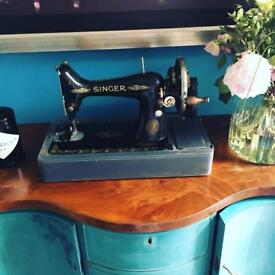 Beautiful hand crank SINGER sewing machine