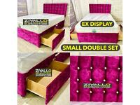 SMALL DOUBLE 2 DRAW STORAGE DIVAN BED SET INCLUDES MATTRESS * IMMEDIATE DELIVERY