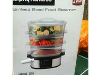 NEW IN BOX MORPHY RICHARDS STAINLESS STEEL 3 TIER FOOD STEAMER