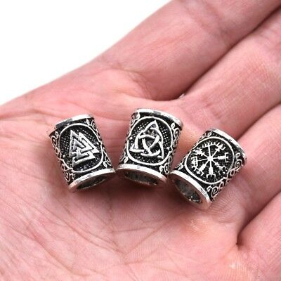2PC Norse Viking Knot/Valknut/Vegvisir Beads For Pendant Necklace Beard/Hair](Beards Jewelry)
