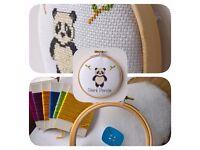 Panda Bear Cross Stitch Padded Hoop Kit