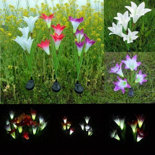 4 LED Solar Lily Flower Stake Garten Hof Lichter Outdoor Landschaft Lampen Dekor