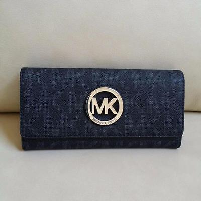 NEW Michael Kors Black PVC MK Signature Fulton Flap Continental Wallet Purse