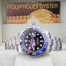 New Silver Rolex GMT Master II Batman Blue/Black Bezel Comes Rolex Bagged And Boxed With Paperwork