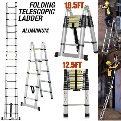 12.5ft 16.4ft Aluminium Ladders Telescoping Multi-purpose Extend Folding Ladders